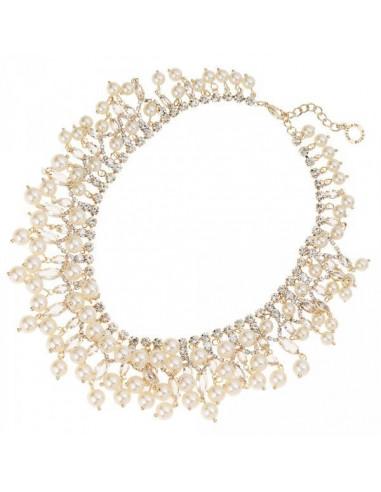 Collana Ottaviani dorata con perle e strass